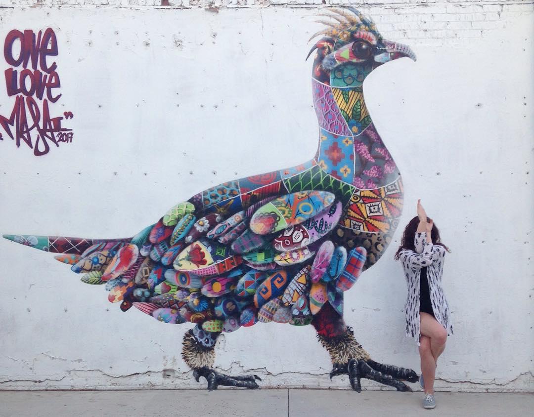 Balancing beside a colorful bird